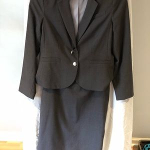 Grey jacket and skirt suit